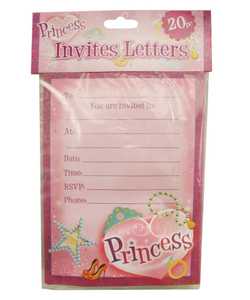 Princess Party Invitations - 20 Pack