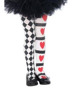 Childs Harlequin & Hearts Tights