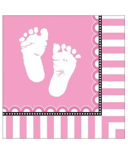 Sweet Baby Feet Pink Napkins - 16 Pack