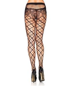 Seamless trellis net pantyhose with lace panty Black