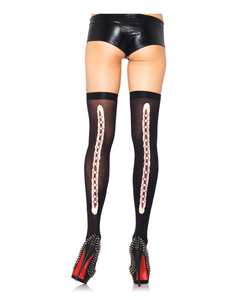 Opaque thigh highs with latex stapled wound backseam Black