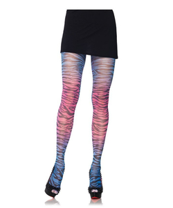 Rainbow Zebra Rrint Tights - Blue/Pink
