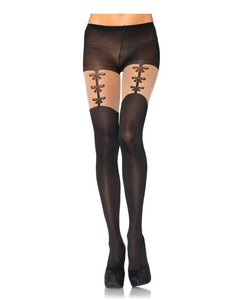 Spandex opaque pantyhose with faux woven garterbelt detail Black