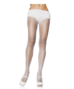 Nylon Fishnet Pantyhose - White