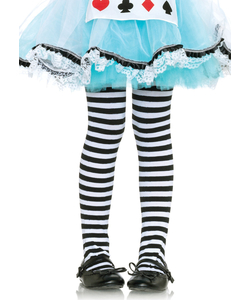Girls Striped Tights - Black/White