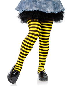 Girls Striped Tights -  Black/Yellow