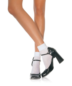 Satin Cuff Anklets - White