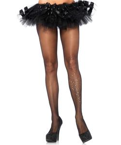 Spandex sheer pantyhose with rhinestone galaxy single leg accent Black