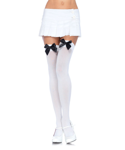 White Over The Knee Stockings With Black Bow