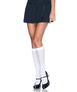 White Nylon Knee High Stockings