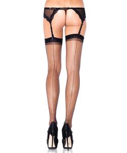 Spandex Ultra Sheer Backseam Stockings - Black
