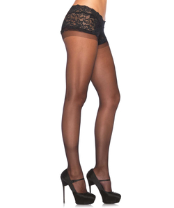 Spandex sheer pantyhose with attached lace boyshort BLAC