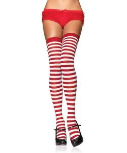 Striped Nylon Stockings - Red/White