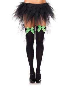Black Stockings With Neon Green Bow