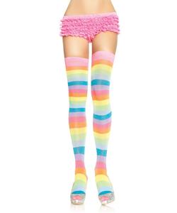 Acrylic Neon Rainbow Thigh High Stockings