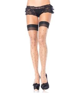 Polka dot spandex sheer thigh highs