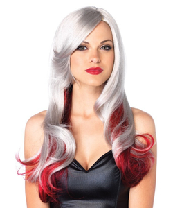grey and red wig