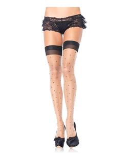 Polka dot spandex sheer thigh highs w/cuban heel PLUS SI Nude/Black