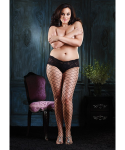 Diamond net pantyhose with sexy lace boy short top PLUS SI Black