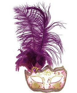 Glitter Eye Mask With Feathers - purple