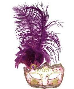 Glitter Eye Mask With Feathers - purple
