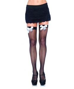Fishnet Stockings - white bow