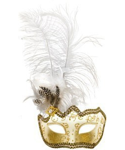 Glitter Eye Mask With Feathers - white