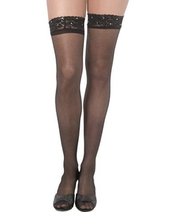 Black Lace Stockings With Diamante's