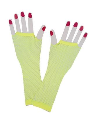 Neon yellow fishnet gloves