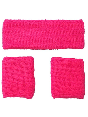 80's Sweatbands & Wristbands - Pink