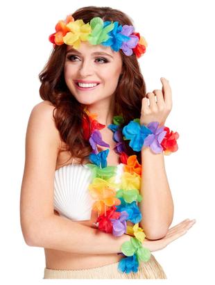 Rainbow Hawaiian Leis Set