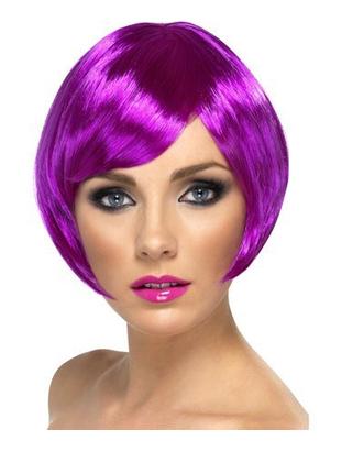 purple crop bob wig