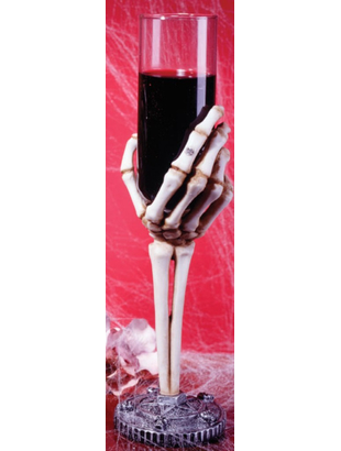 purple Skeleton Hand Flute Glass