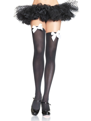 Black Stockings With White Bow