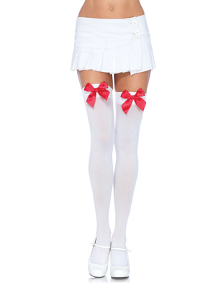 White Over The Knee Stockings With Red Bow