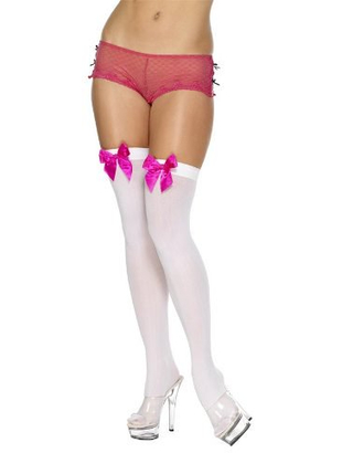 White Stockings With Fuchsia Pink Bow