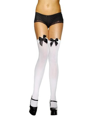 White Stockings With Black Bow