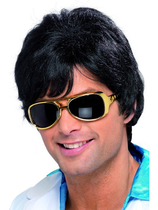 70's black shag wig