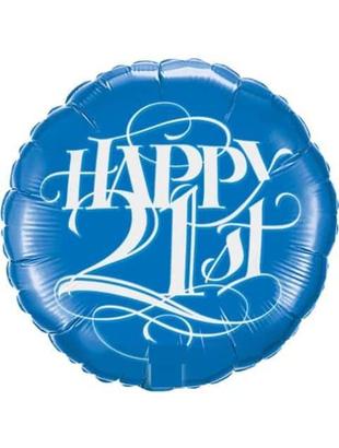 Happy 21st Round Foil Balloon - Blue