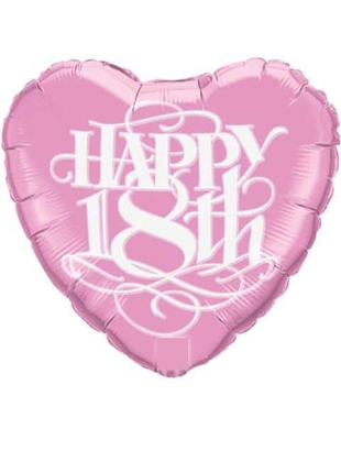 Happy 18th Round Foil Balloon - Pink