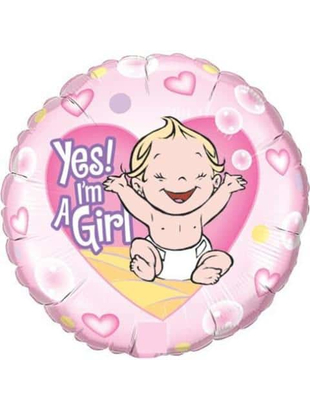 """"""" Yes I'm A Girl """" Foil Balloon"""