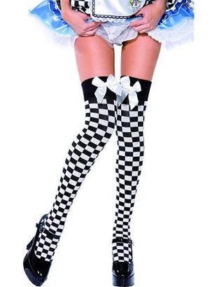 Black & White Chequered Stockings