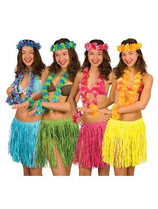 Hawaiian Skirt & Leis Set