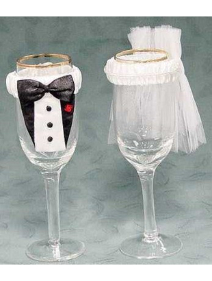 Bride & Groom Glass Covers
