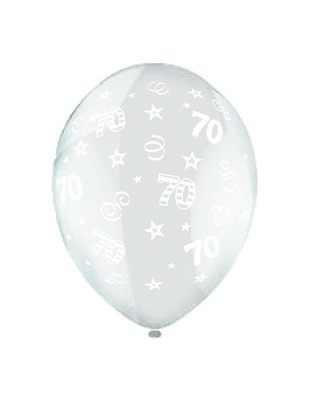 70th Birthday Celebration Clear Latex Balloons