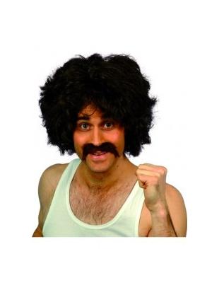 Retro Kit brown short wig and tash.